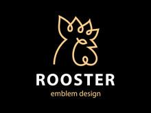 Rooster Head Logo - Vector Illustration