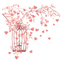 Bird Cage Among Flowers And Flying Hearts Design