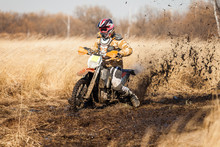 Enduro Bike Rider On A Field W...
