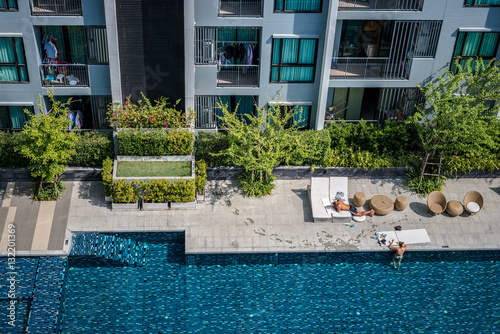 Obraz na plátně  Pool of the condominium.