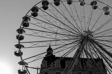 Ferris Wheel Silhouette In Bla...
