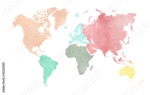 La pose en embrasure Carte du monde Map of the continental world in watercolor in six different colors