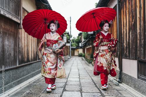 Fototapeta Portrait of  a Maiko geisha in Gion Kyoto
