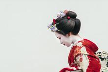 Portrait Of Maiko Geisha In Gion, Kyoto, Japan