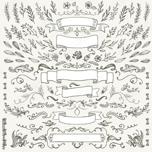 hand-drawing pattern decorative elements Wall mural