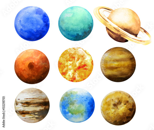 Watercolor planets isolated collection. Wall mural