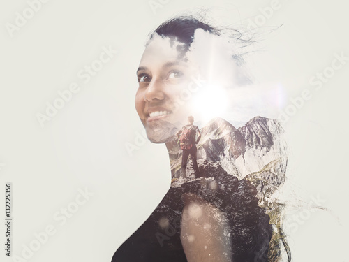 Photographie Double exposure image of a gorgeous woman