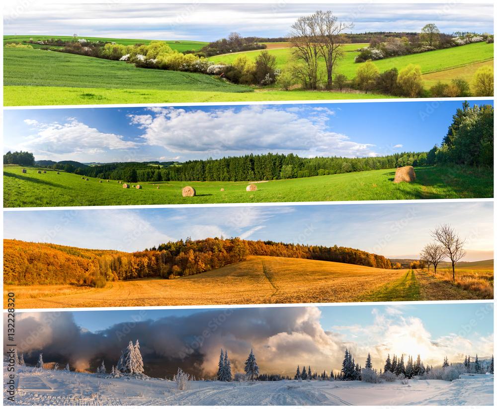 Fototapeta Four season collage from horizontal banners