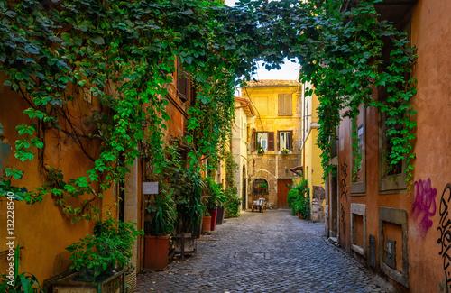Old street in Trastevere, Rome, Italy.