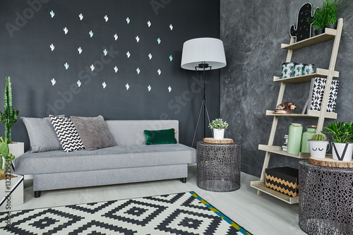 Fototapeta Black cactus wall decor obraz