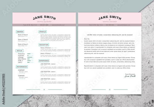 pastel accent cv and cover letter layout  buy this stock