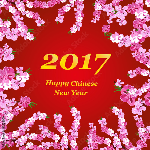 chinese new year background greeting card banner flowers and branches of the plum