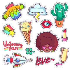Cool stickers set in 80s-90s pop art style. Patch badges and pins with cartoon characters, food and things. Vector crazy doodles with african woman, strange cactus, ice cream cat etc.
