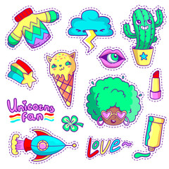 Cool stickers set in 80s-90s pop art style. Neon patch badges and pins with cartoon characters, food and things. Vector crazy doodles with african woman, strange cactus, ice cream cat etc.