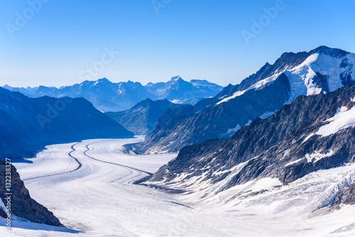 Poster Glaciers Aletsch glacier - ice landscape in Alps of Switzerland, Europe