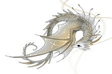 Illustrated Dragon In Gold And...