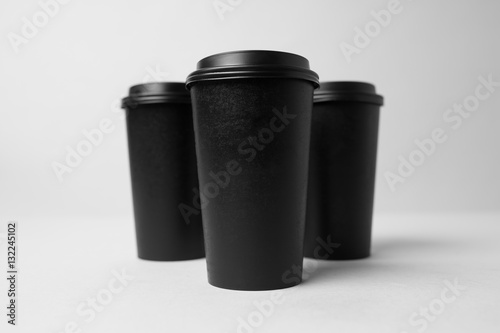 Wall Murals Cafe Black paper cups mockup