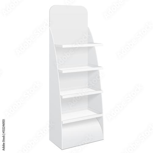 Fotografía White Cardboard Floor Display Rack For Supermarket Blank Empty Displays With Shelves Products Mock Up