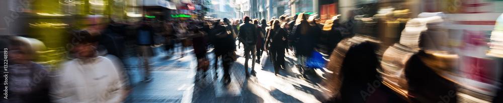 Fototapeta crowd of people on shopping street