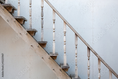 Photo Stands Stairs Old rustic wooden staircase