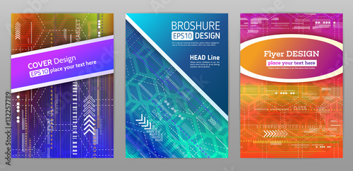 Technology Brochure Template | Abstract Technology Brochure Futuristic Book Cover Layout Digital