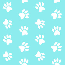 White Footprints Paw On A Blue Background Step Trace Pattern Sea