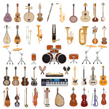 Vector Set Of Musical Instruments Isolated On White Background