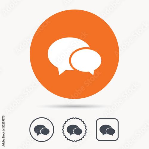Chat Icon Speech Bubble Symbol Orange Circle Button With Web Icon