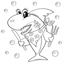 Cute Cartoon Shark With Fork And Knife. Black And White Vector Illustration For Coloring Book