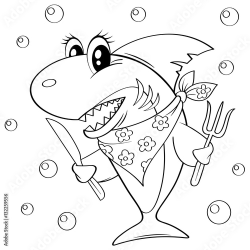 Papiers peints Cartoon draw Cute cartoon shark with fork and knife. Black and white vector illustration for coloring book