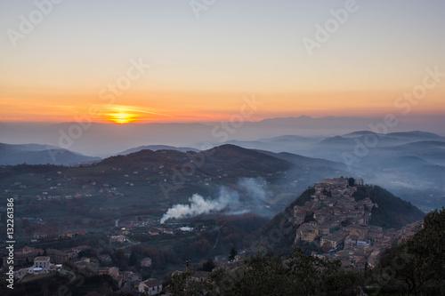 Arpino at sunset, as seen from Acropolis of Civitavecchia di Arpino, Ciociaria, Canvas Print