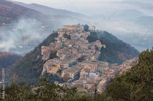 Arpino as viewed from Acropolis of Civitavecchia di Arpino, Ciociaria, Italy Canvas Print