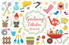 Gardening Icons Set, Design Elements. Garden Tools And Decor Collection, Isolated On A White Background. Vector Illustration