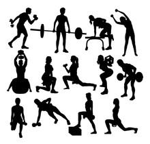 Sport Gym Activity Silhouettes, Art Vector Design