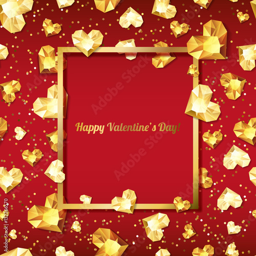 Valentines Day Vector Illustration 3d Gold Heart Diamonds