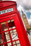 Fototapeta Londyn - London - Big Ben tower and a red phone booth