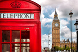 Fototapeta London - London - Big Ben tower and a red phone booth
