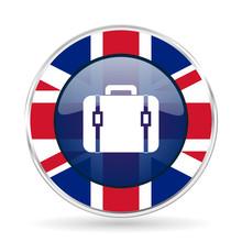 Bag British Design Icon - Round Silver Metallic Border Button With Great Britain Flag