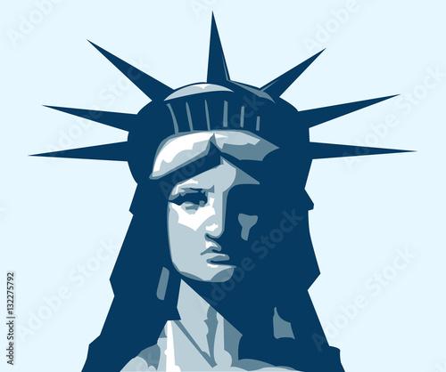 Fotografie, Obraz  Statue of Liberty portrait. Vector illustration.