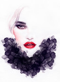Beautiful woman portrait. Abstract fashion watercolor illustration - 132277344