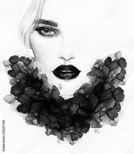 Poster Portrait Aquarelle Beautiful woman portrait. Abstract fashion watercolor illustration