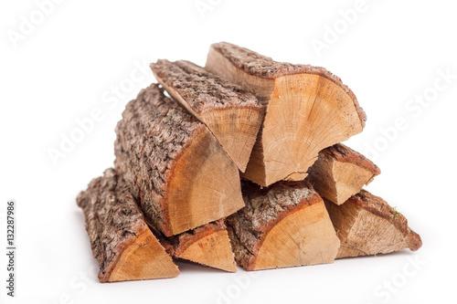 Feuerholz auf weissem Hintergrund - freigestellt Fototapeta