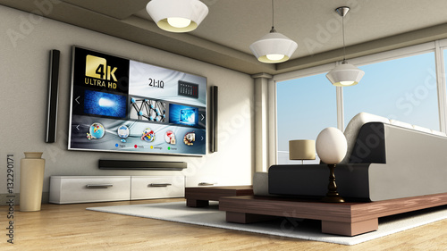 Obraz Modern 4K smart TV room with large windows and parquet floor. 3D illustration - fototapety do salonu