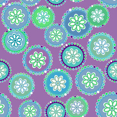 bright colorful flowers on purple background, seamless pattern. Vector