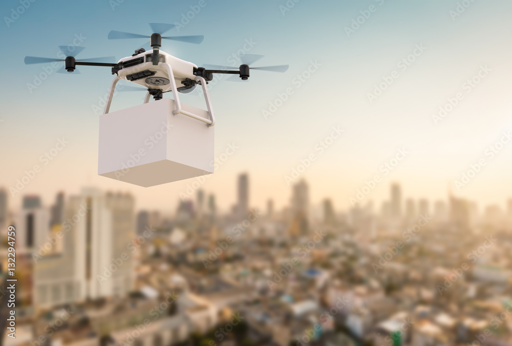 Fototapety, obrazy: delivery drone flying in city