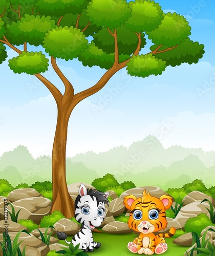 Printed kitchen splashbacks Cats Cartoon baby zebra with baby tiger sitting in the jungle