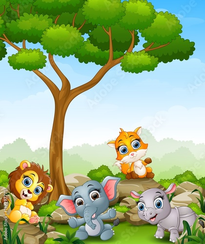 Poster de jardin Zoo Wild animal cartoon in the jungle