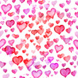 Watercolour heart pattern on white background