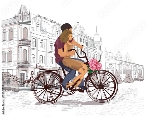 Fototapety, obrazy: Series of the streets with people in the old city. Romantic couple riding the bicycle.