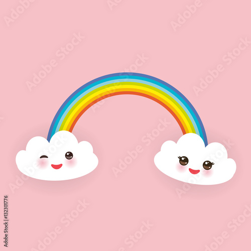 Photo  Kawaii funny white clouds set, muzzle with pink cheeks and winking eyes, rainbow on light pink background